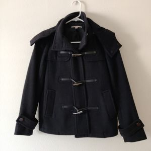 Gap Black Wool Blend Hooded Coat